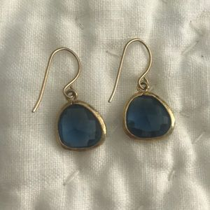 Blue and gold drop earrings from Anthropologie